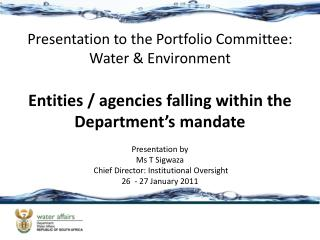 Entities / agencies falling within the Department's mandate