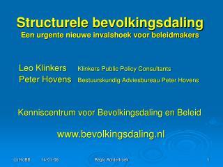 Structurele bevolkingsdaling Een urgente nieuwe invalshoek voor beleidmakers
