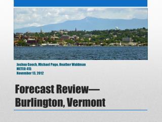 Forecast Review—Burlington, Vermont