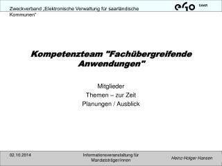 """Kompetenzteam """"Fachübergreifende Anwendungen"""""""