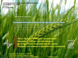 Опыт Группы ММВБ по организации биржевых торгов поставочными фьючерсными контрактами на зерно.