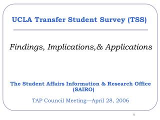 UCLA Transfer Student Survey TSS