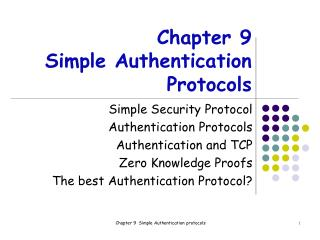 Chapter 9 Simple Authentication Protocols