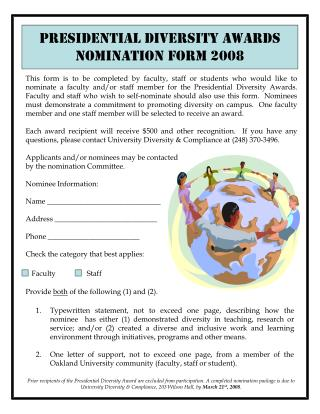 Presidential Diversity Awards Nomination Form 2008