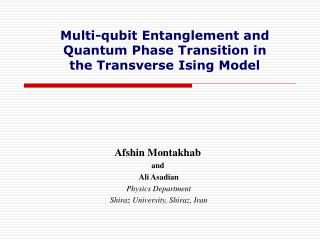 Multi-qubit Entanglement and Quantum Phase Transition in the Transverse Ising Model