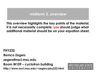 Midterm 3, overview