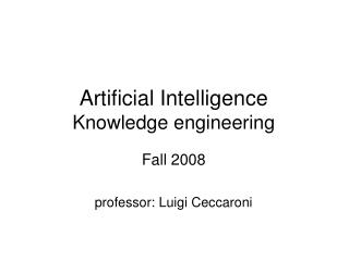 Artificial Intelligence Knowledge engineering