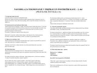 NAVODILA ZA TEKMOVANJE V PRIPRAVI IN POSTRE�BI KAVE  � 2. del (PRAVILNIK �TEVILKA 16)