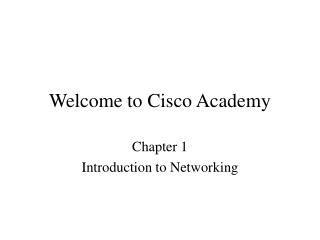 Welcome to Cisco Academy