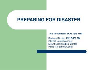 PREPARING FOR DISASTER
