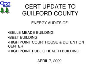 CERT UPDATE TO GUILFORD COUNTY