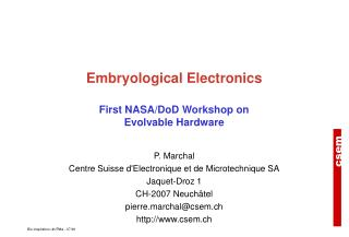Embryological Electronics First NASA/DoD Workshop on Evolvable Hardware