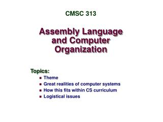 Assembly Language and Computer Organization