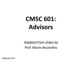 CMSC 601: Advisors