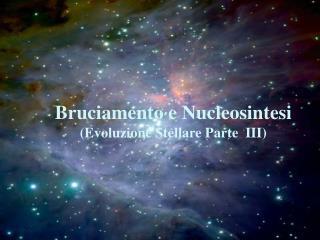 Bruciamento e Nucleosintesi (Evoluzione Stellare Parte  III)