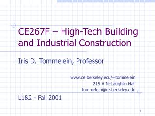 CE267F – High-Tech Building and Industrial Construction