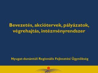 Bevezetés, akciótervek, pályázatok, végrehajtás, intézményrendszer