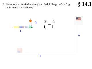1.  How can you use similar triangles to find the height of the flag pole in front of the library?