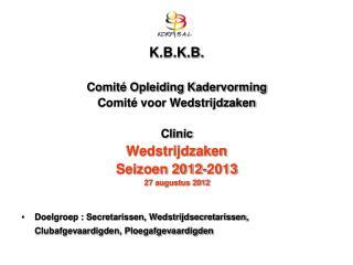 K.B.K.B. Comité Opleiding Kadervorming Comité voor Wedstrijdzaken Clinic Wedstrijdzaken