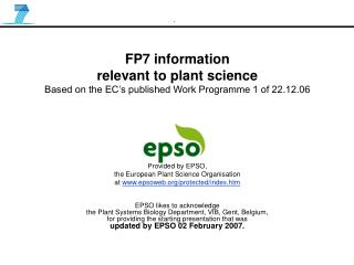 FP7 information  relevant to plant science