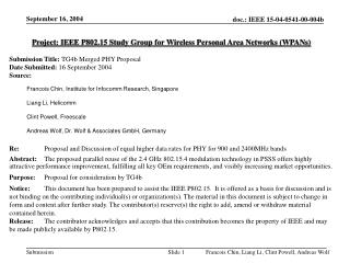 Project: IEEE P802.15 Study Group for Wireless Personal Area Networks (WPANs)