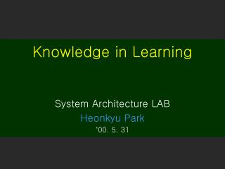 Knowledge in Learning