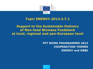 FP7 WORK PROGRAMMES 2013 COOPERATION THEMES ENERGY and KBBE