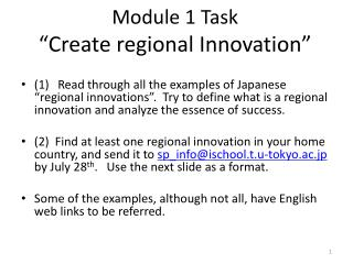 "Module 1 Task ""Create regional Innovation"""