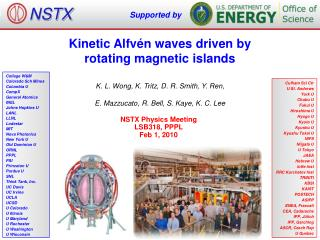 Kinetic Alfvén waves driven by  rotating magnetic islands