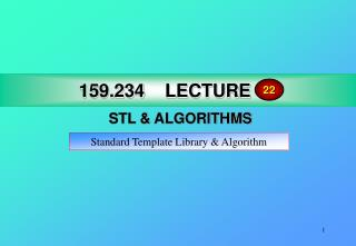 159.234 LECTURE 17