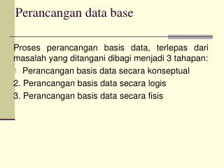 Perancangan data base