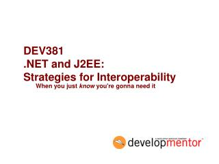 DEV381 .NET and J2EE:  Strategies for Interoperability