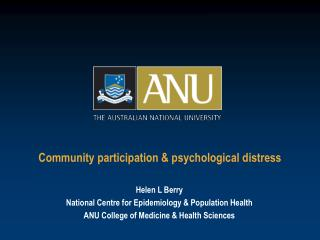 Community participation  psychological distress