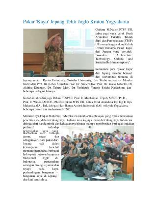 Pakar 'Kayu' Jepang Teliti Joglo Kraton Yogyakarta Gedung  M.Natsir  FTSP  UII,