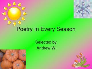 Poetry In Every Season