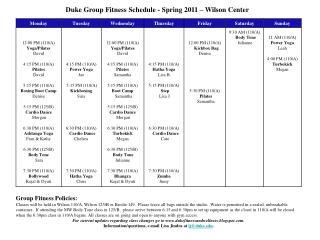 Duke Group Fitness Schedule - Spring 2011 – Wilson Center