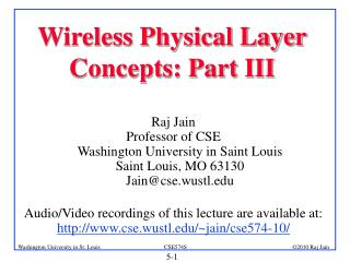 Wireless Physical Layer Concepts: Part III