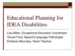 Educational Planning for IDEA Disabilities