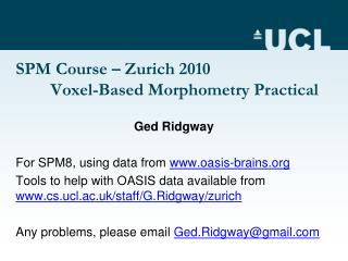 SPM Course   Zurich 2010  Voxel-Based Morphometry Practical