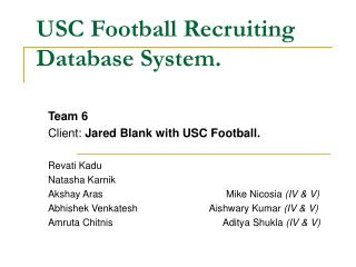 USC Football Recruiting Database System.