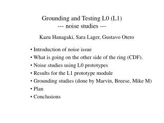 Grounding and Testing L0 (L1) --- noise studies ---