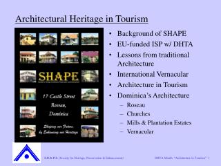 Architectural Heritage in Tourism