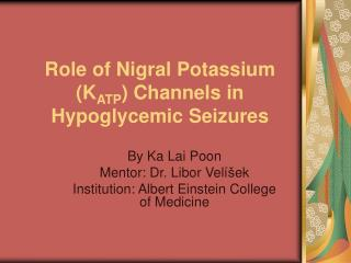 Role of Nigral Potassium (K ATP ) Channels in Hypoglycemic Seizures