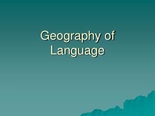 Geography of Language