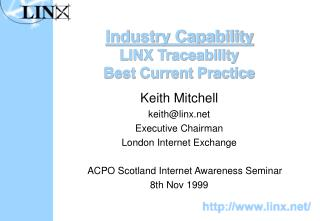 Industry Capability LINX Traceability Best Current Practice