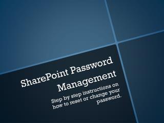 SharePoint Password Management