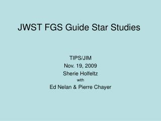 JWST FGS Guide Star Studies