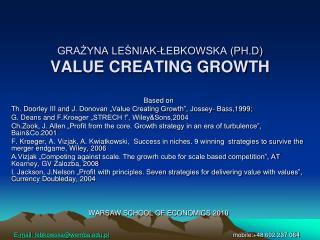 GRAŻYNA LEŚNIAK-ŁEBKOWSKA (PH.D) VALUE CREATING GROWTH