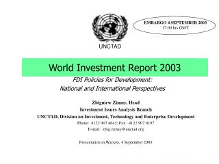 World Investment Report 2003