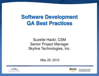 Software Development QA Best Practices